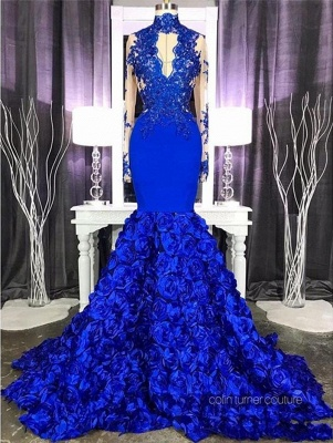 Halter Royal Blue Prom Dresses Lace Mermaid Evening Gowns Long Sleeves_2