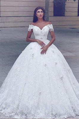 Sweetheart Off The Shoulder Lace Ball Gown Wedding Dresses_1