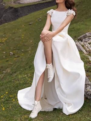 Jewel Cap Sleeve Satin A Line Wedding Dresses_2