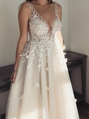 Pearls Applique Straps A Line Wedding Dresses | V Neck Tulle Floor Length Bridal Gown_2