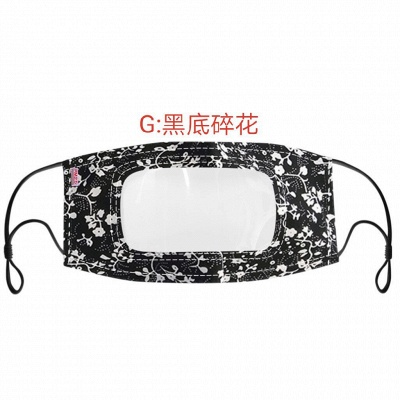 50 PCS Cotton Printed Unisex Adult Mouth Face Mask With Clear Window Visible_6