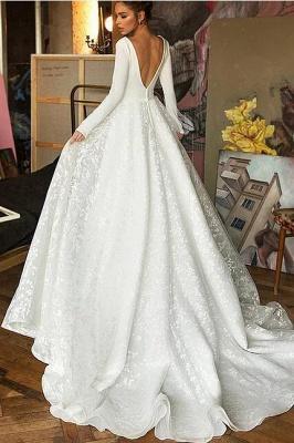 Elegant Long Seleeve Backless Floral A Line Cheap Wedding Dresses | V Neck Bridal Gown_2