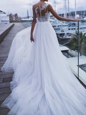 Sheer Back Straps Applique Pleats Tulle A Line Wedding Dresses_2