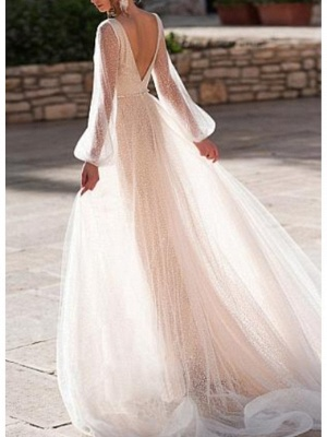 Sexy V Neck Long Sleeve High Low Wedding Dresses | Sequin Bridal Gowns_2
