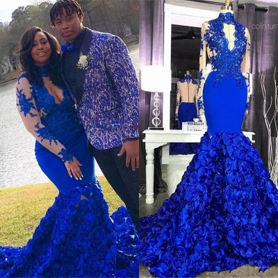 Halter Royal Blue Prom Dresses Lace Mermaid Evening Gowns Long Sleeves_3