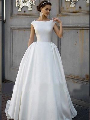 Elegant Jewel Cap Sleeve Satin A Line Wedding Dresses_3