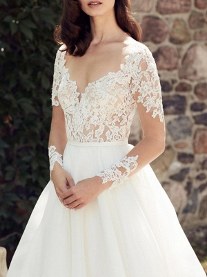 Long Sleeve Lace A Line Wedding Dresses | V Neck Bridal Gown_2