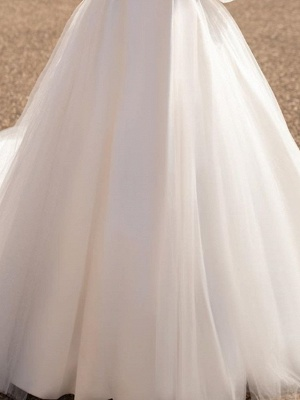 Chic V Neck Long Sleeve A Line Wedding Dresses | Backless Wedding Gown_4