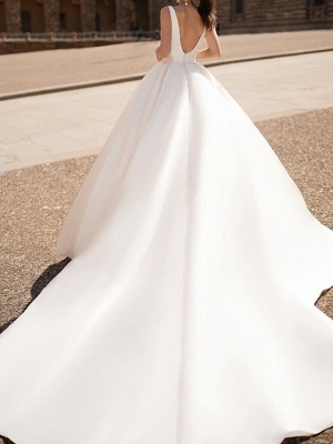 Chic V Neck Long Sleeve A Line Wedding Dresses | Backless Wedding Gown_2