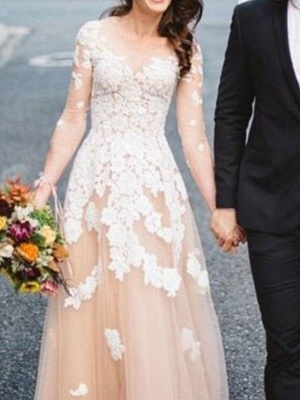 Champagne Long Sleeve Ivory Applique A Line Wedding Dresses_3