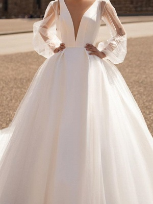Chic V Neck Long Sleeve A Line Wedding Dresses | Backless Wedding Gown_3