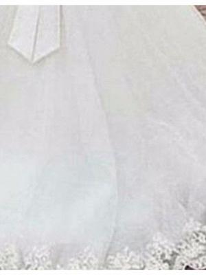 Classic Bateau Applique Bowknot A Line Wedding Dresses_3