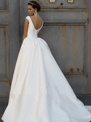 Elegant Jewel Cap Sleeve Satin A Line Wedding Dresses_4