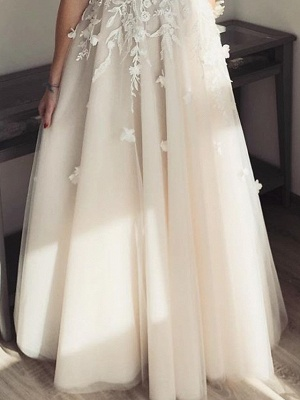 Pearls Applique Straps A Line Wedding Dresses | V Neck Tulle Floor Length Bridal Gown_3