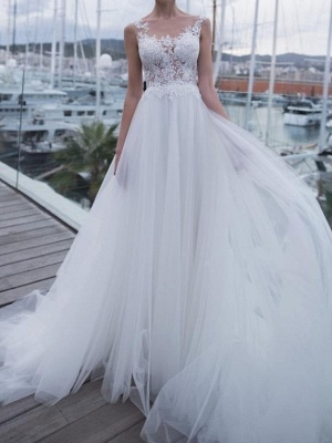 Sheer Back Straps Applique Pleats Tulle A Line Wedding Dresses_1