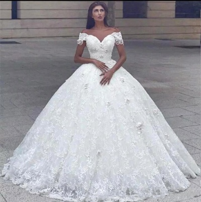Sweetheart Off The Shoulder Lace Ball Gown Wedding Dresses_2