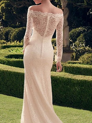 Classic Off The Shoulder Lace Sheath Wedding Dresses   Bateau Long Sleeve Wedding Gown_2