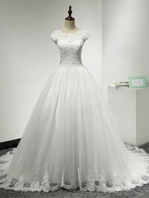 Cap Sleeve Applique Tulle A Line Wedding Dresses_1