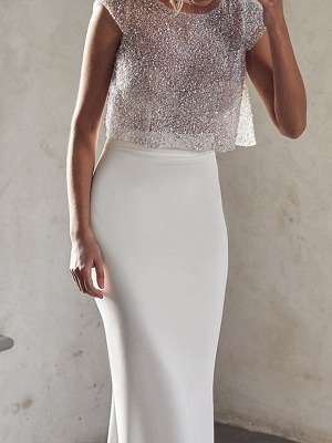 Two Pieces Sparkly Sequin Fitted Sheath Wedding Dresses_3