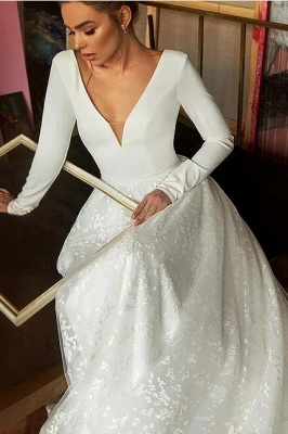 Elegant Long Seleeve Backless Floral A Line Cheap Wedding Dresses | V Neck Bridal Gown_3