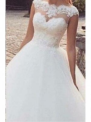 Classic Bateau Applique Bowknot A Line Wedding Dresses_2