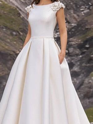 Jewel Cap Sleeve Satin A Line Wedding Dresses_3