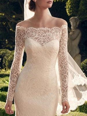 Classic Off The Shoulder Lace Sheath Wedding Dresses   Bateau Long Sleeve Wedding Gown_3