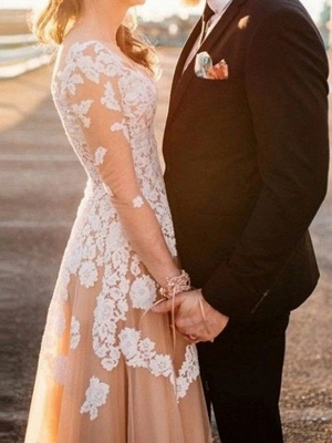 Champagne Long Sleeve Ivory Applique A Line Wedding Dresses_2