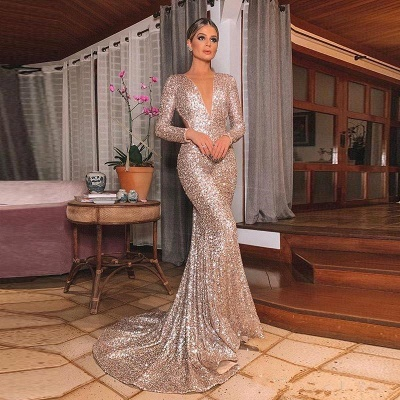 Gold V Neck Sequined Mermaid Prom Dresses | Long Sleeve Backless Party Dress_4