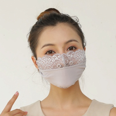 10 pcs Adult Comfortable Embroidery Lace Face Mask  For Black/White Party_4