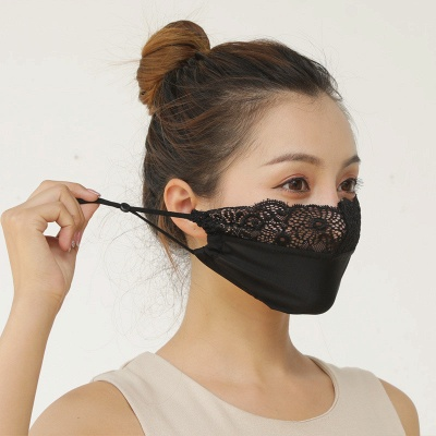 10 pcs Adult Comfortable Embroidery Lace Face Mask  For Black/White Party_10
