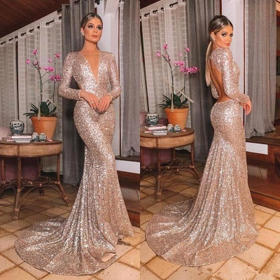 Gold V Neck Sequined Mermaid Prom Dresses | Long Sleeve Backless Party Dress_6