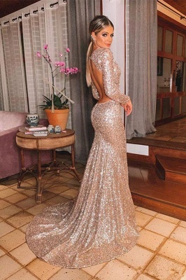 Gold V Neck Sequined Mermaid Prom Dresses | Long Sleeve Backless Party Dress_2