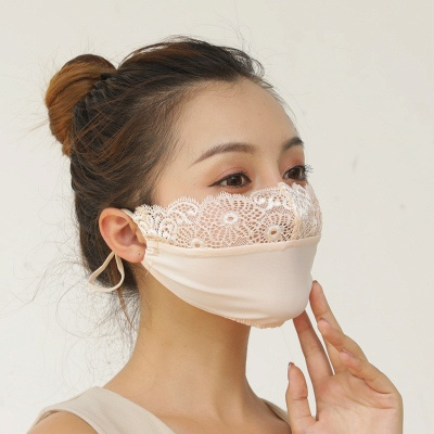 10 pcs Adult Comfortable Embroidery Lace Face Mask  For Black/White Party_13