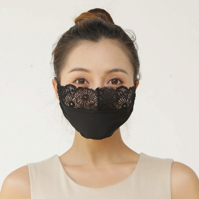 10 pcs Adult Comfortable Embroidery Lace Face Mask  For Black/White Party_3