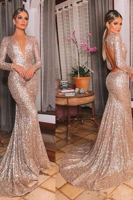 Gold V Neck Sequined Mermaid Prom Dresses | Long Sleeve Backless Party Dress_3