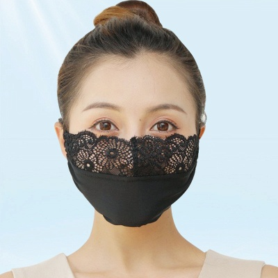 10 pcs Adult Comfortable Embroidery Lace Face Mask  For Black/White Party_18