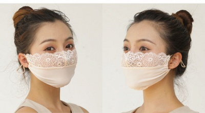 10 pcs Adult Comfortable Embroidery Lace Face Mask  For Black/White Party_6