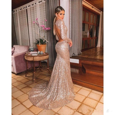 Gold V Neck Sequined Mermaid Prom Dresses | Long Sleeve Backless Party Dress_5