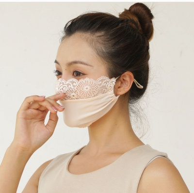 10 pcs Adult Comfortable Embroidery Lace Face Mask  For Black/White Party_7