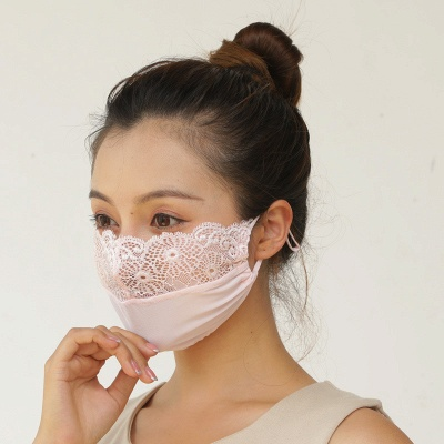 10 pcs Adult Comfortable Embroidery Lace Face Mask  For Black/White Party_12