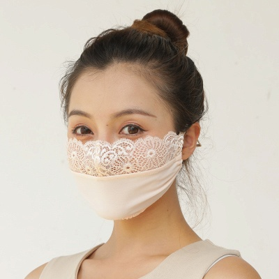 10 pcs Adult Comfortable Embroidery Lace Face Mask  For Black/White Party_9