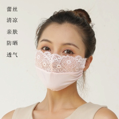 10 pcs Adult Comfortable Embroidery Lace Face Mask  For Black/White Party_17