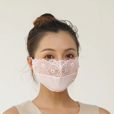 10 pcs Adult Comfortable Embroidery Lace Face Mask  For Black/White Party_14