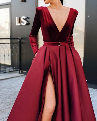 Burgundy Slit A-Line Prom Dresses | V-Neck Long Sleeves Sashes Evening Dresses BC0785_3