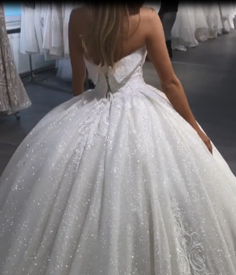 Luxury Ball Gown Wedding Dresses | Sparkly Sweetheart Long Bridal Gowns BC3028_4