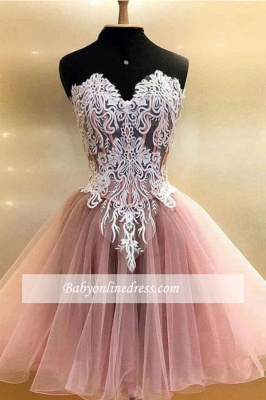 Applique Sweetheart A-line Strapless Short Homecoming Dresses_1
