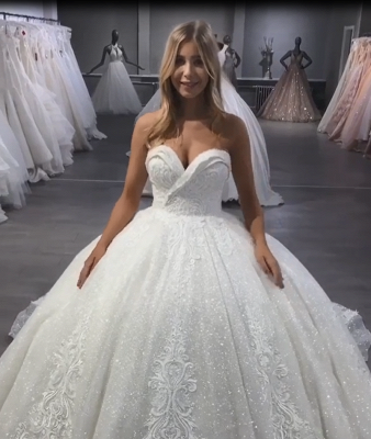 Luxury Ball Gown Wedding Dresses | Sparkly Sweetheart Long Bridal Gowns BC3028_5