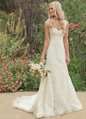 Simple Lace A-line Wedding Dresses | Straps Sleeveless Bridal Gowns_1