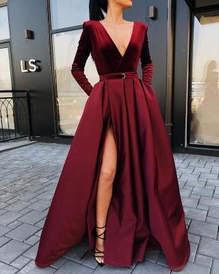 Burgundy Slit A-Line Prom Dresses | V-Neck Long Sleeves Sashes Evening Dresses BC0785_2